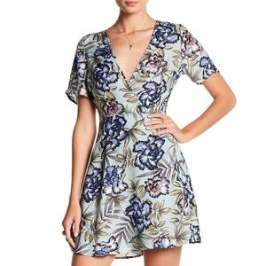 Lush Nordstrom Mint Floral Wrap Dress Short Sleeve